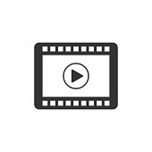 Play Video icon isolated. Flat design. Vector Illustration