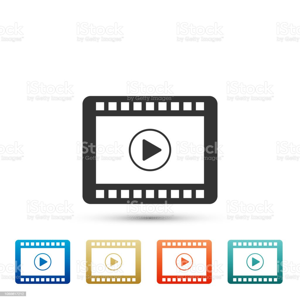 Play Video icon isolated on white background. Set elements in colored...