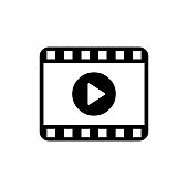 Play video icon in flat style. Movie icon. Video player symbol isolated on white background. Simple play video abstract icon in black. Vector illustration for graphic design, Web, UI, mobile upp
