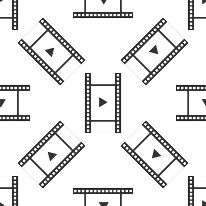 Play Video Icon Seamless Pattern On White Background Film