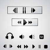 Playback Icon Set. Icons for audio player in vector. EPS 10
