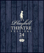 Playbill for a Theatre festival with a silhouette of actor in Baroque costume on the grey wooden background. Vector poster or banner in retro style on the theme of theatrical art