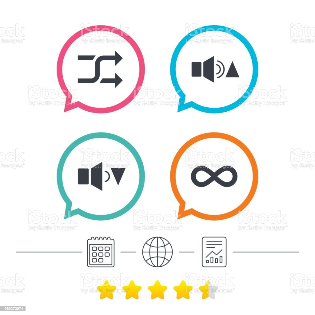 Player Control Icons Sound Louder And Quieter Stock Vector