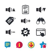 Player control icons. Sound louder and quieter.
