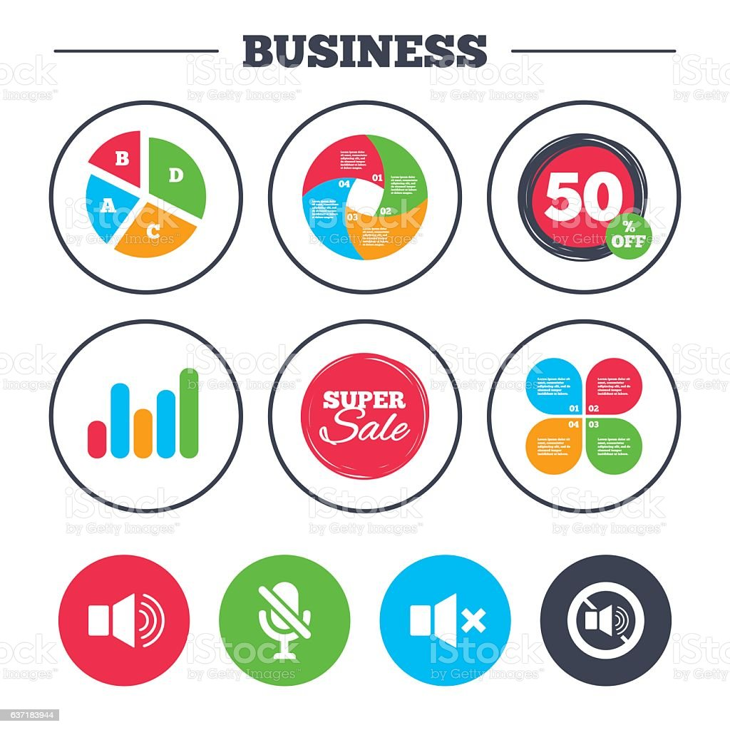 Business pie chart  Growth graph  Player control icons  Sound,