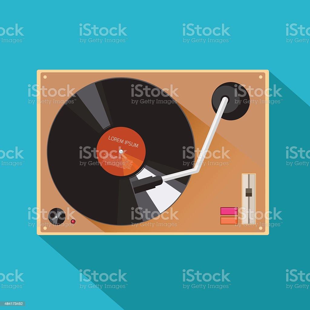 Player for vinyl record vector art illustration