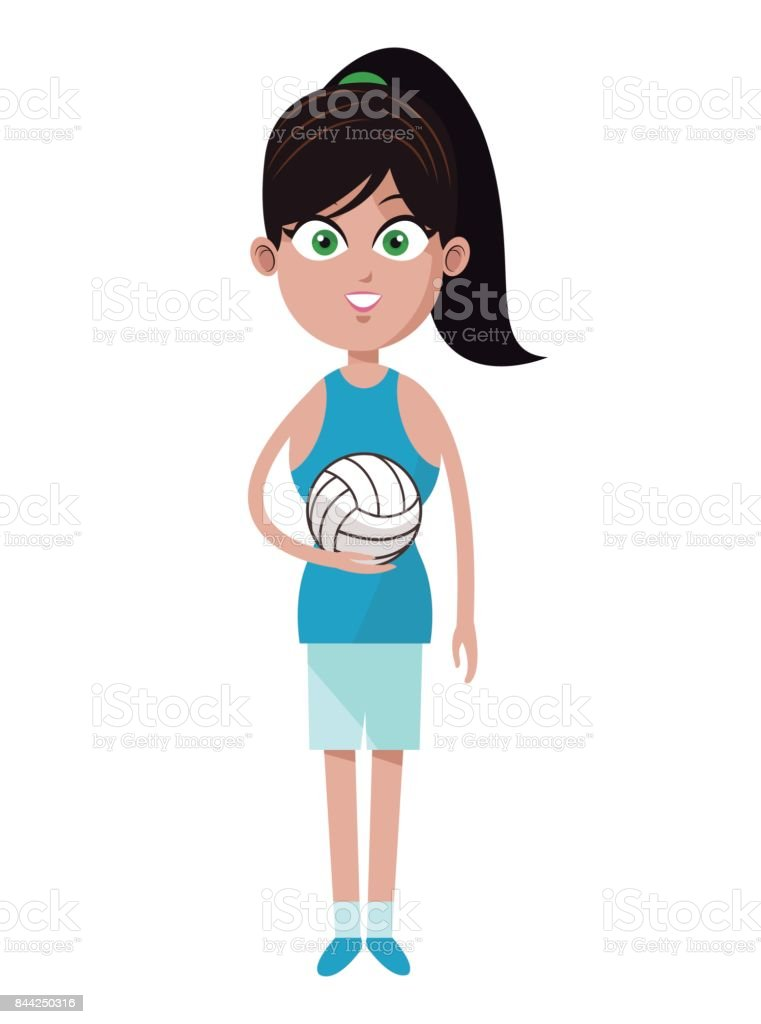 player girl volleyball pony tail and ball vector art illustration