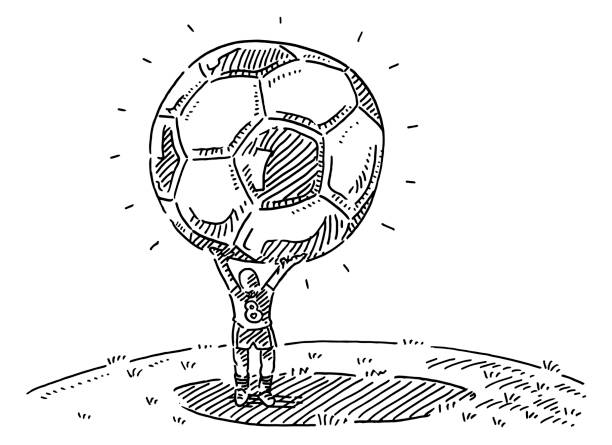 Player Holding Oversized Soccer Ball Drawing Hand-drawn vector drawing of a Player Holding an Oversized Soccer Ball. Black-and-White sketch on a transparent background (.eps-file). Included files are EPS (v10) and Hi-Res JPG. soccer stock illustrations