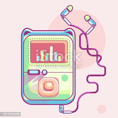 istock MP3 player icon. Flat design style modern vector illustration. Isolated on stylish color background. Flat long shadow icon. Elements in flat design. 1312254255