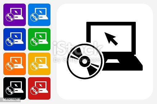 DVD Player Icon Square Button Set. The icon is in black on a white square with rounded corners. The are eight alternative button options on the left in purple, blue, navy, green, orange, yellow, black and red colors. The icon is in white against these vibrant backgrounds. The illustration is flat and will work well both online and in print.