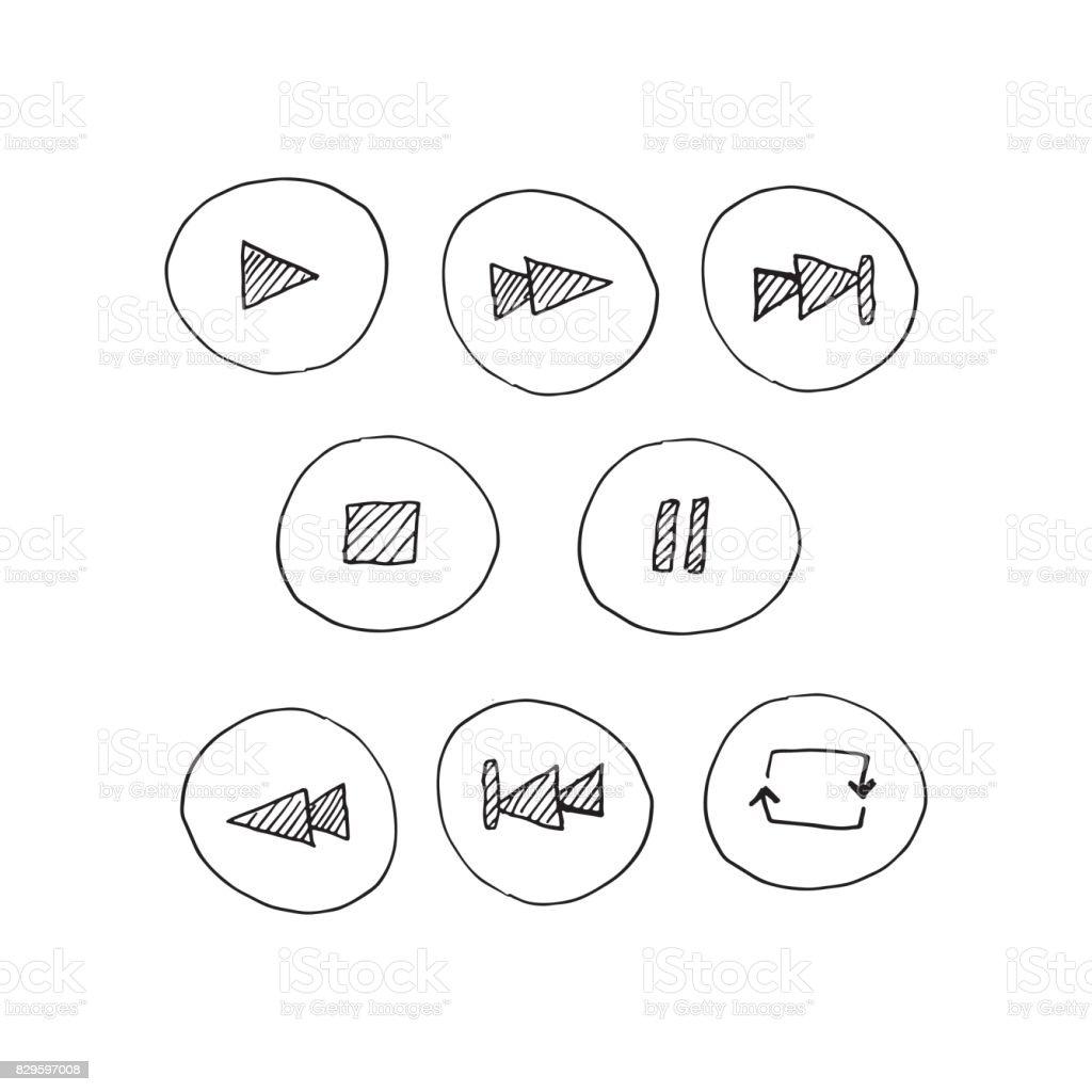 Icônes de lecteur vecteur. Dessinés à la main. Boutons de joueur et symboles. Joueur de contrôle. La valeur de crayon lecteur attiré boutons dans un style doodle. - Illustration vectorielle