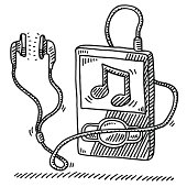 Hand-drawn vector drawing of a MP3 Player and Earphones, a Music Note is visible on the display. Black-and-White sketch on a transparent background (.eps-file). Included files are EPS (v10) and Hi-Res JPG.