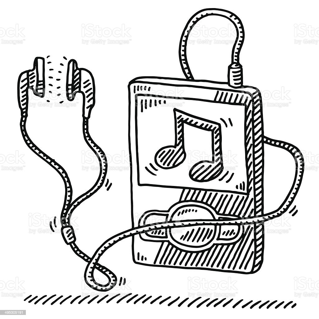 MP3 Player Music Note Earphone Drawing vector art illustration