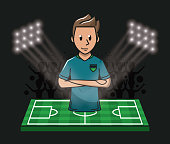 Player on field camp cartoon soccer concept vector illustration graphic design