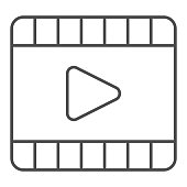 Player thin line icon. Video play interface button in film frame symbol, outline style pictogram on white background. Multimedia sign for mobile concept and web design. Vector graphics