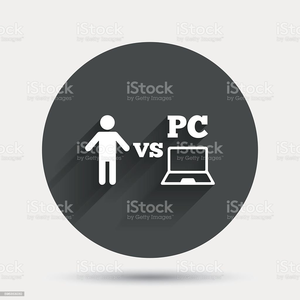 Player vs PC sign icon. Games symbol. royalty-free player vs pc sign icon games symbol stock vector art & more images of badge