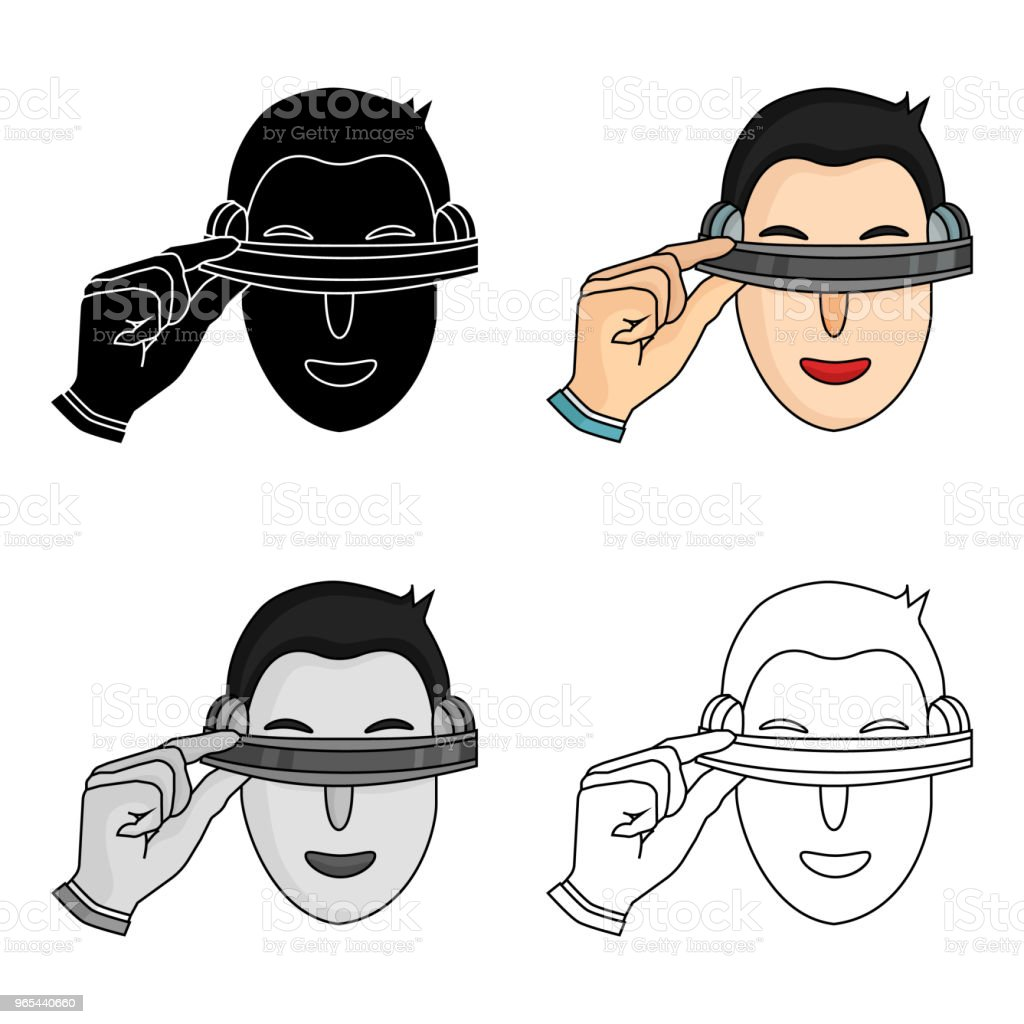 Player with virtual reality headcartoon icon in cartoon style isolated on white background. Virtual reality symbol stock vector illustration web. royalty-free player with virtual reality headcartoon icon in cartoon style isolated on white background virtual reality symbol stock vector illustration web stock vector art & more images of adult