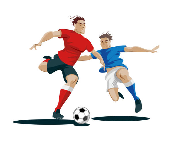 spieler kämpfen um den ball. - fußballkunst stock-grafiken, -clipart, -cartoons und -symbole