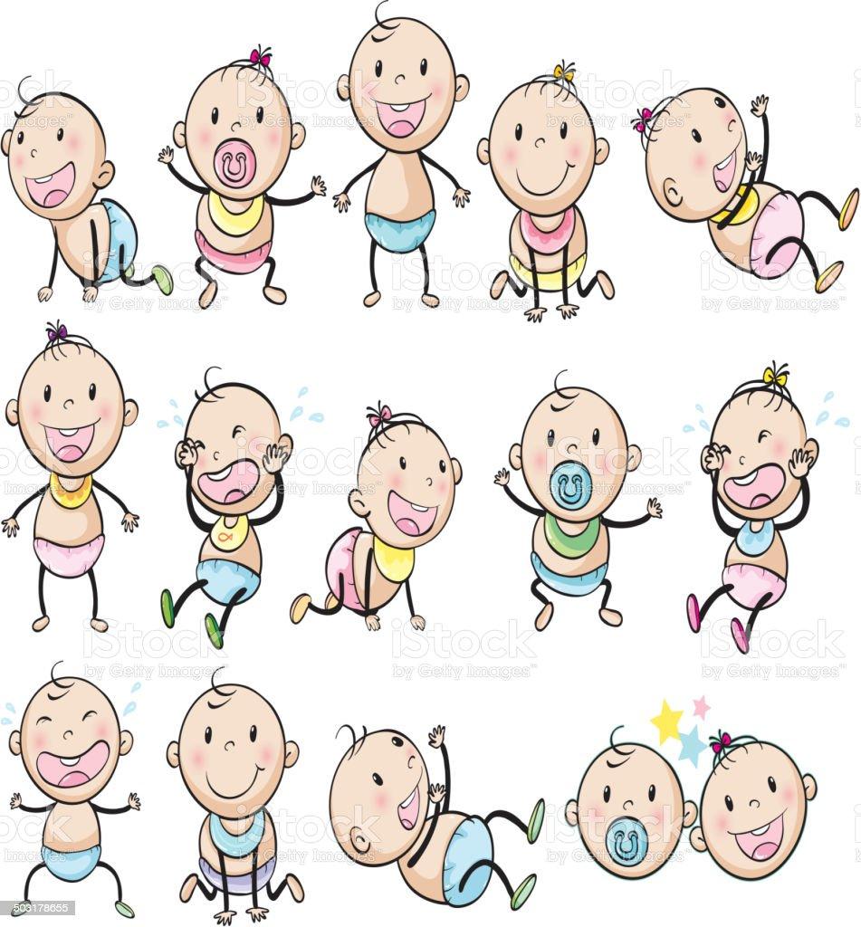 Playful babies vector art illustration
