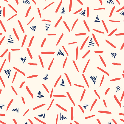 Playful Blue White and Red Geometric Vector Seamless Pattern with Hand-Drawn Triangles and Stripes