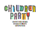 Playful colored font, kids alphabet, trendy letters (A, B, C, D, E, F, G, H, I, J, K, L, M, N, O, P, Q, R, S, T, U, V, W, X, Y, Z) and numbers (0, 1, 2, 3, 4, 5, 6, 7, 8, 9), vector illustration 10eps