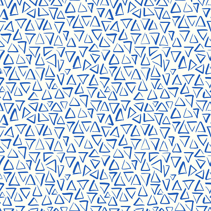 Playful Doodle Blue and White Geometric Vector Seamless Pattern with Hand-Drawn Brush Triangles
