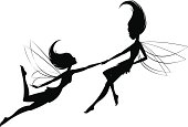 Two little fairies playing with each other-pulling each other along. They can be used separately as well.
