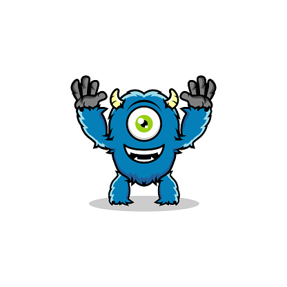 playful furry one-eyed monster illustration