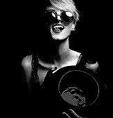 Scratchboard illustration of a playful, laughing woman wearing black lace lingerie and licking her lips.