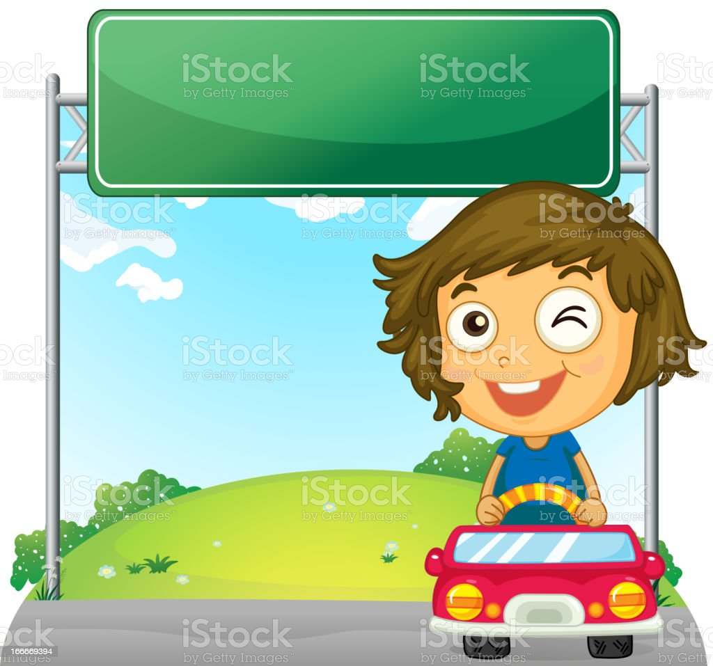 Playful little girl near an empty signage royalty-free stock vector art