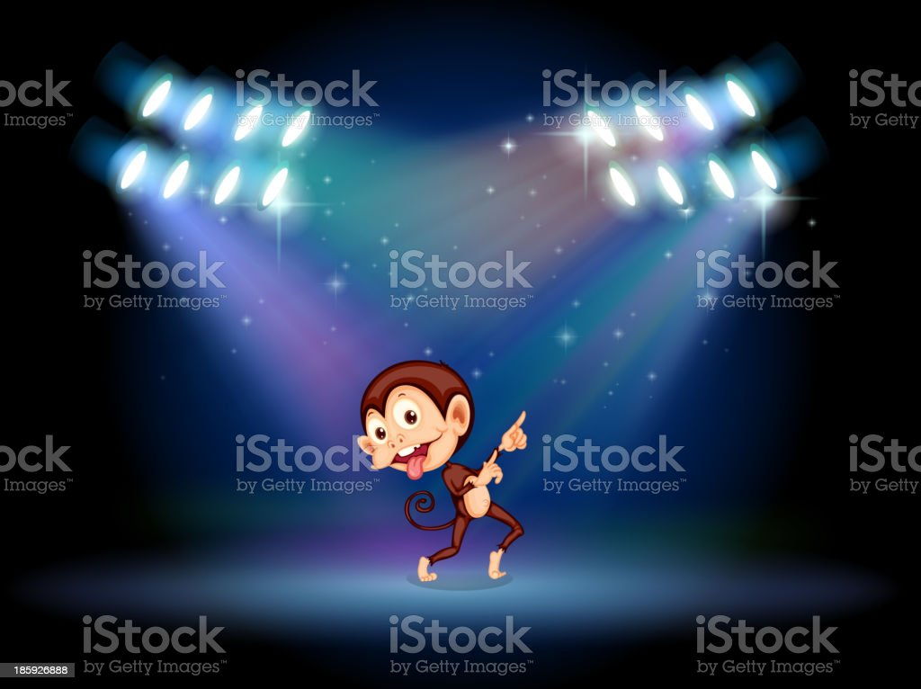 playful monkey dancing in the middle of  stage royalty-free stock vector art