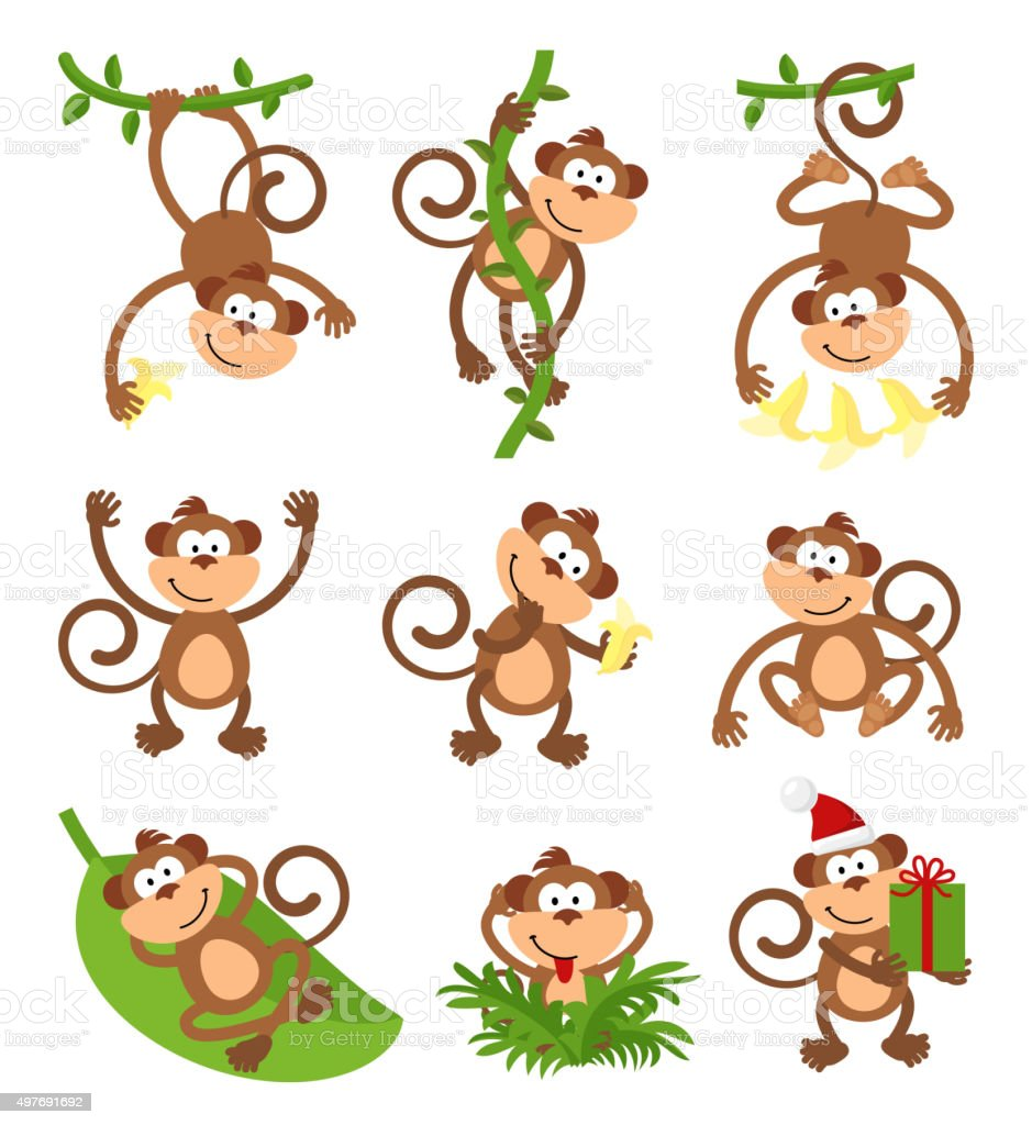 Playful monkeys character vector set. Chinese zodiac 2016 New Year