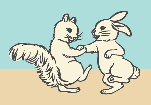 Playful Squirrel and Rabbit