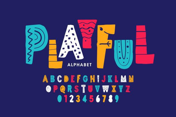 игривый шрифт стиля - алфавит stock illustrations