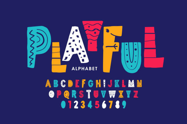 playful style font - alphabet drawings stock illustrations