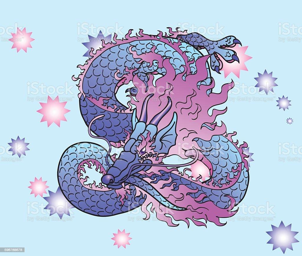 Playful violet Asian dragon on star векторная иллюстрация