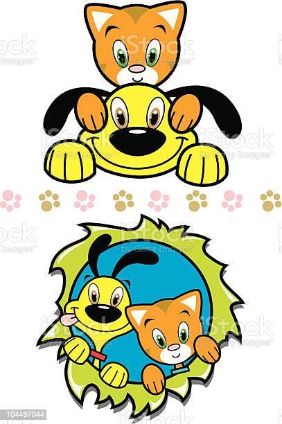 Playful yellow puppy cute orange kitty friends vector id104497044?b=1&k=6&m=104497044&s=612x612&h=qvr9mpclpryzlxzvyeap zop38eku6syt78hizjxdbs=