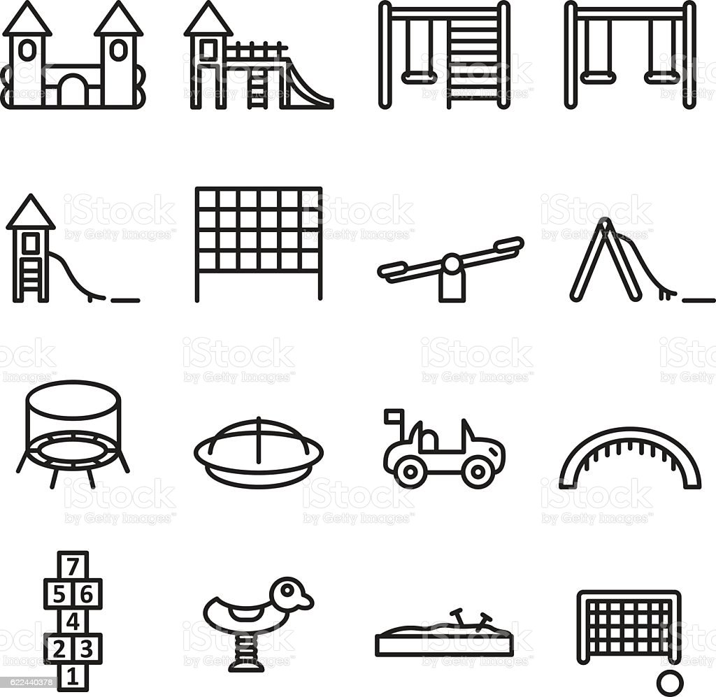 Playgorund thin line icon set. Vector . vector art illustration