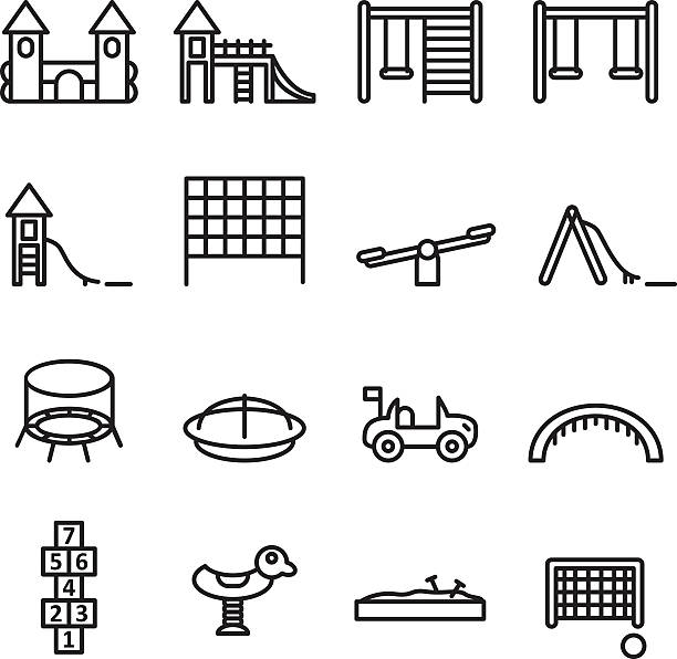 playgorund thin line icon set. vector . - recess stock illustrations, clip art, cartoons, & icons