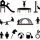 playground black and white royalty free vector icon set