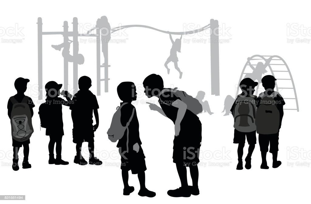 Parque infantil acoso escolar - ilustración de arte vectorial