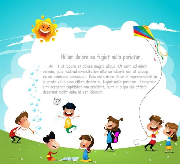 stockillustraties, clipart, cartoons en iconen met speeltuin. kinderen met plezier. - mini amusementpark
