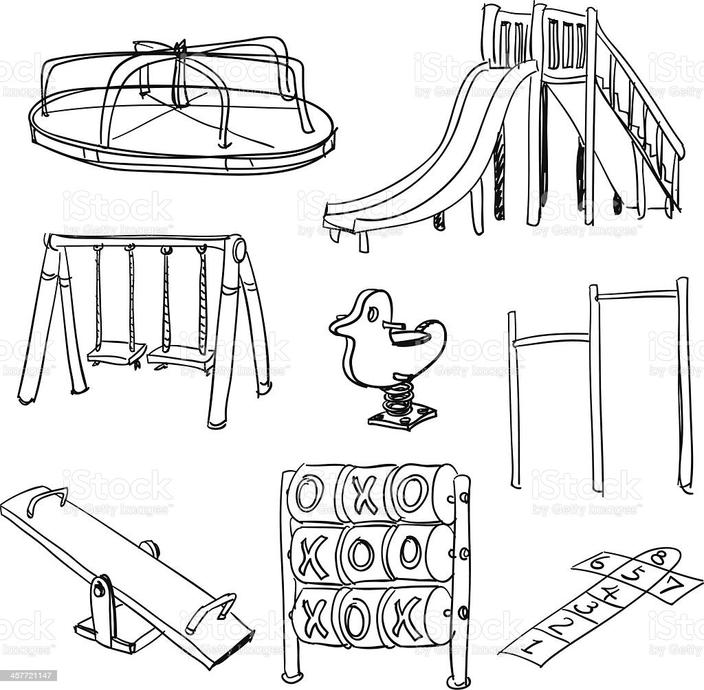 Playground collection in black and white vector art illustration