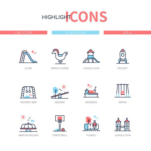 Playground elements - line design style icons set vector art illustration