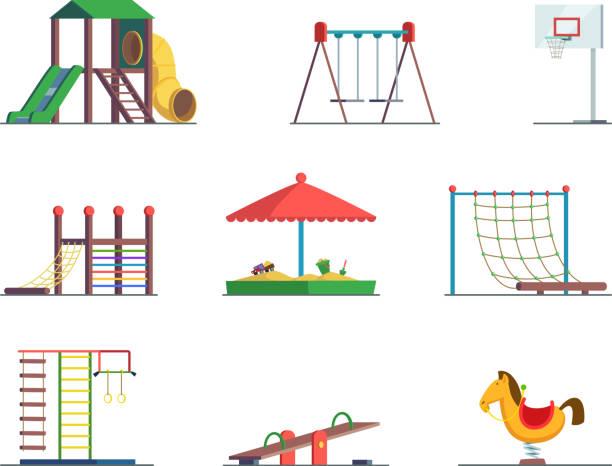 stockillustraties, clipart, cartoons en iconen met speeltoestellen. leuke omgeving voor kinderen. vector set - speeltuin
