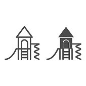 Playground for children line and solid icon, Kindergarten concept, Play area for kids sign on white background, Playhouse with slide symbol in outline style for mobile and web design. Vector graphics