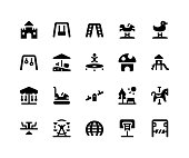 Simple Set of Playground Related Vector Glyph Icons. Contains such Icons as castle, swing, trampoline, slide, seesaw and More. pixel perfect vector icons based on 32px grid. Well Organized and Layered