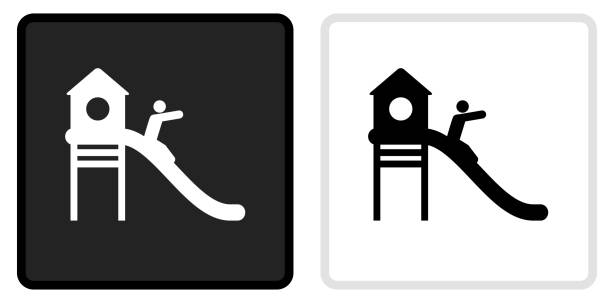 Playground Icon on  Black Button with White Rollover vector art illustration