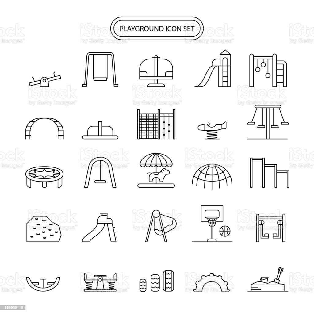 Playground Icon Set editable stroke vector art illustration
