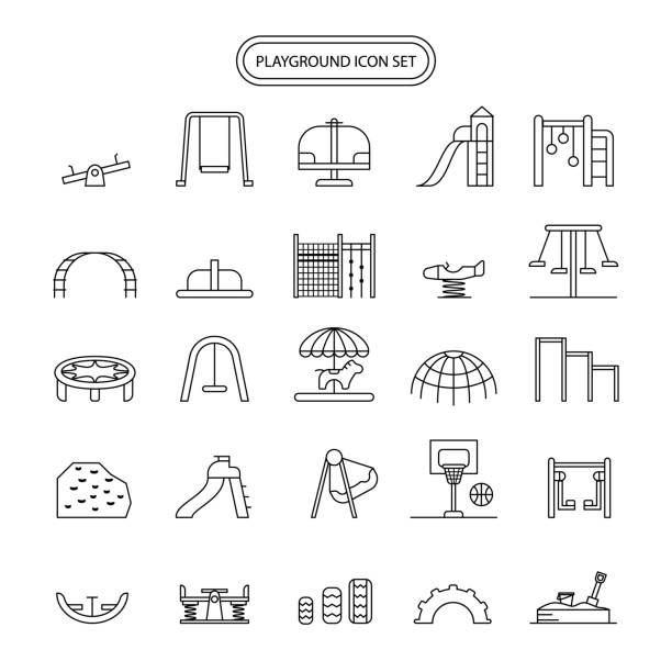 playground icon set editable stroke - recess stock illustrations, clip art, cartoons, & icons